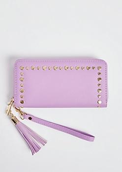 Lavender Flat Studded Wristlet