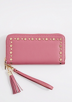 Dusty Pink Flat Studded Wristlet