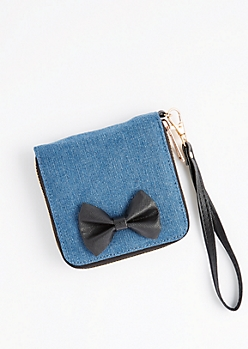 Denim Bow Small Wallet