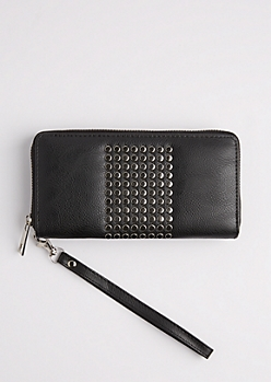 Black Studded Block Wristlet