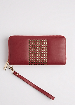 Dark Red Studded Block Wristlet