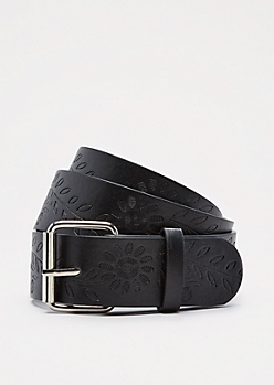 Black Floral Embossed Belt