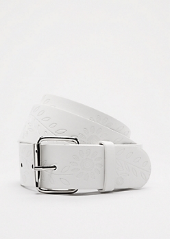 White Floral Embossed Belt