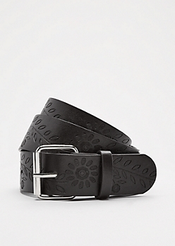 Brown Floral Embossed Belt