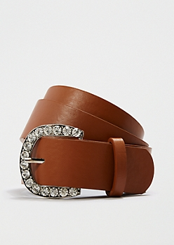 Tan Oversized Diamante Buckle Belt