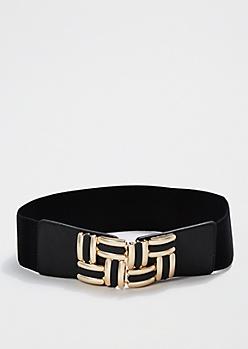 Gold Basketweave Buckle Webbed Belt