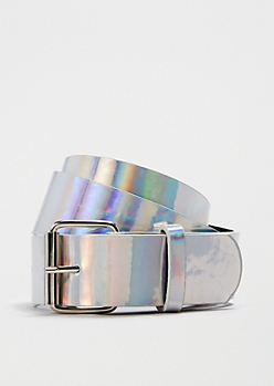 Wide Iridescent Shine Belt