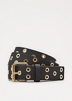 Black Tossed Grommet Belt