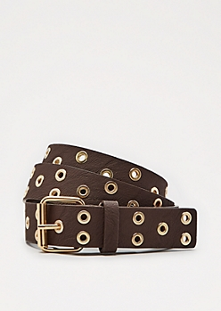 Brown Tossed Grommet Belt