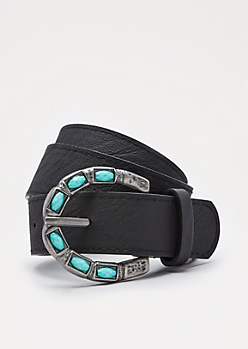 Black Turquoise Stone Buckled Belt