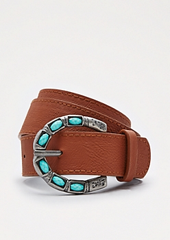 Cognac Turquoise Stone Buckled Belt