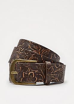 Vintage Floral Embossed Belt