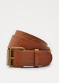 Cognac Embossed Arrow Belt