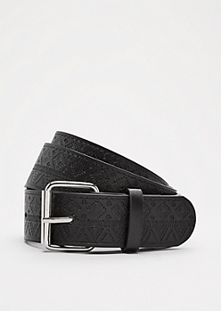 Black Southwestern Embossed Belt