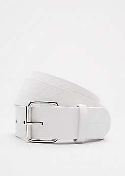 White Southwestern Embossed Belt