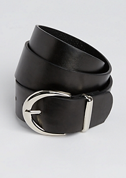 Black Silver Buckled Belt