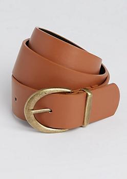 Cognac Antique Metal Buckled Belt