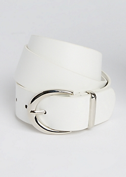 White Silver Buckled Belt