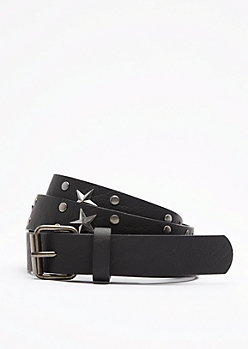 Black Lone Star Vegan Leather Belt