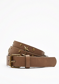 Brown Lone Star Vegan Leather Belt