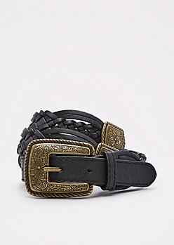 Black Floral Medallion Braided Belt
