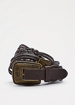 Brown Floral Medallion Braided Belt