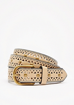 Taupe Geo Studded Belt