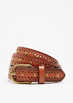 Cognac Geo Studded Belt