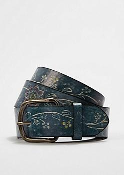Blue Washed Floral Embossed Belt