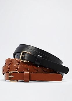 Braided Slim Belt Set