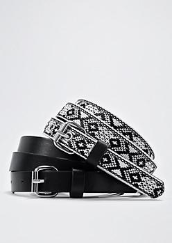 Tribal Embroidered Slim Belt Set