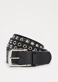 Black Cutout Double Grommet Belt
