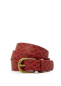 Burgundy Tribal Embossed Faux Leather Belt
