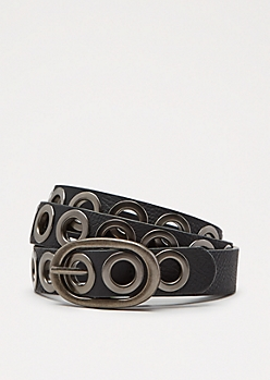 Black Slim Grommet Belt