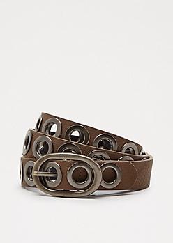 Taupe Slim Grommet Belt