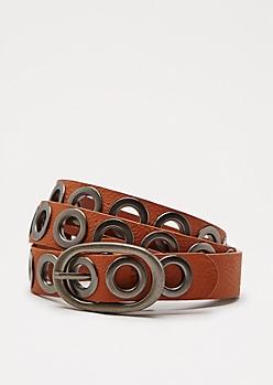 Cognac Slim Grommet Belt