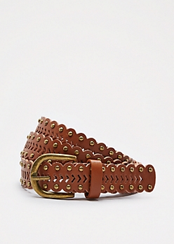 Cognac Arrow Studded Belt