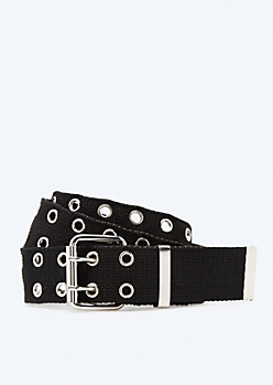 Black Woven Double Grommet Belt
