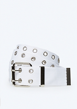 White Woven Double Grommet Belt