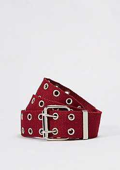 Burgundy Woven Double Grommet Belt