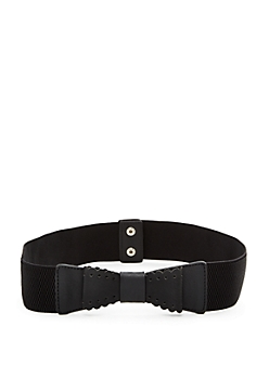 Faux Leather Perforated Bow Belt