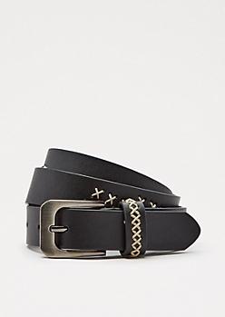 Black Cross-Stitch Belt