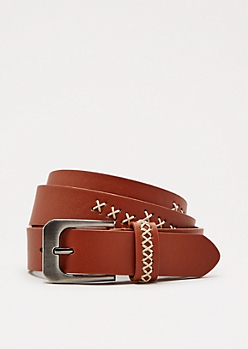 Cognac Cross-Stitch Belt