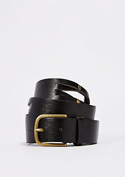 Black Studded Split Belt
