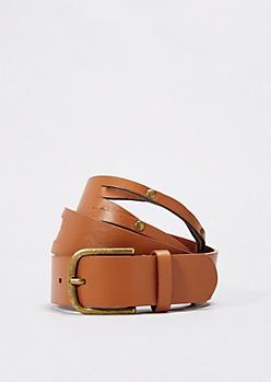 Cognac Studded Split Belt