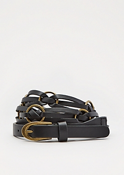 Black Twisted Rings Belt