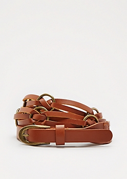 Cognac Twisted Rings Belt