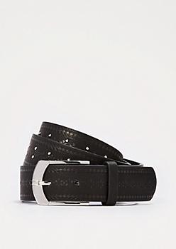 Black Studded Floral Embossed Belt