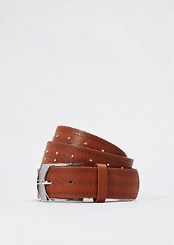 Cognac Studded Floral Embossed Belt