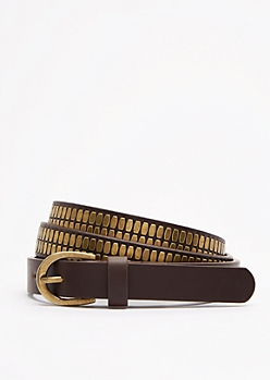 Brown Geo Studded Skinny Belt